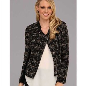 Edgy Rebecca Taylor Leather Trimmed Boucle Jacket